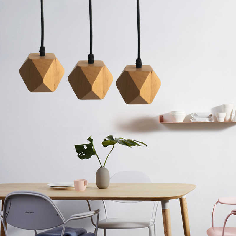 Modern minimalist polyhedron Solid wood Pendant Lights living room bedroom bar retro restaurant corridor Light fixture