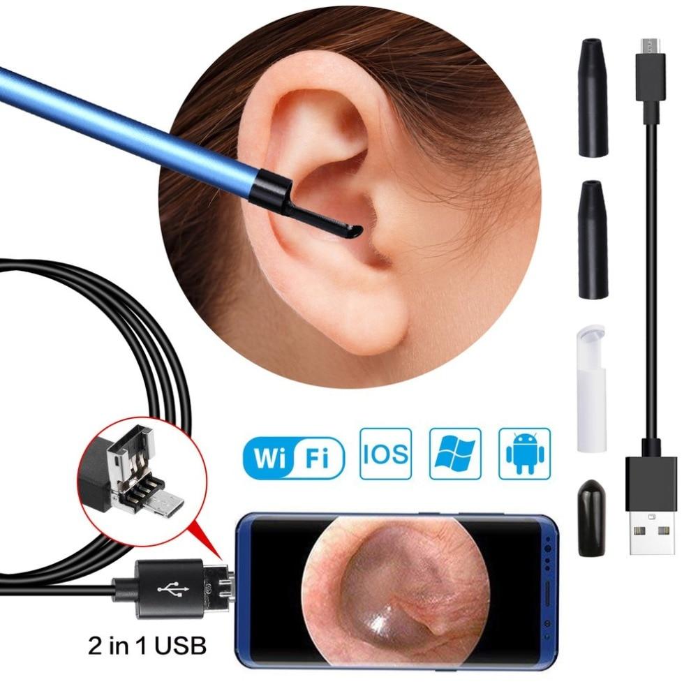 3 in 1 USB di Pulizia Dell'orecchio Dell'endoscopio Earpick Cucchiaio Orecchio Con Mini Macchina Fotografica del HD Cerume Rimozione Visiva Per Finestre PC per Android Per IOS