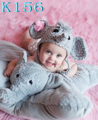 37971ca9985 New cute Baby Girl Toddler Elephant Knit Crochet Winter Hat Beanie Cap  Wader Newborn Cap Kids