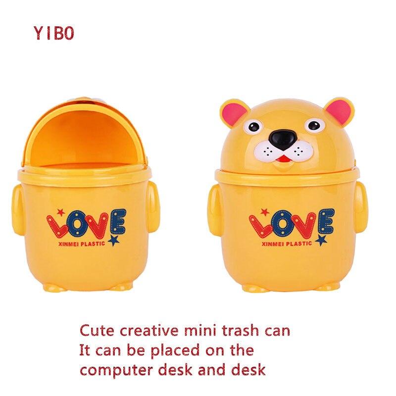 YIBO Cartoon Plastic Mini Desktop Trash Home Desk Garbage Collection Clean Trash Bins Storage Bin Basket Storage Tank