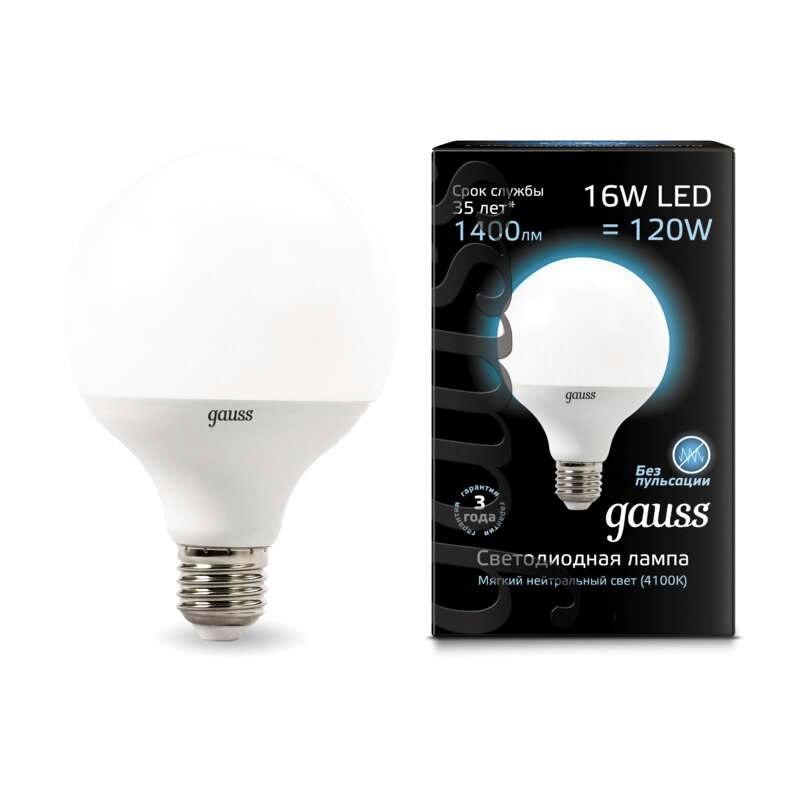 Лампа светодиодная шар Led G95 E27 16Вт 3000К 4100К Gauss 105102216 105102116 - 3