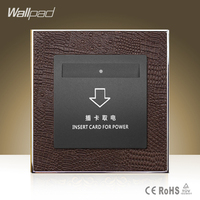 Hot Sale Wallpad Hotel Inserd Card Socket Goats Brown Leather Modular Card Power Supply Switch Free