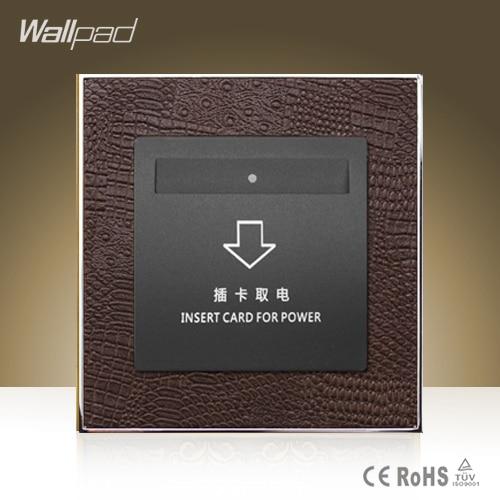 цена на Hot Sale Wallpad Hotel Inserd Card Socket Goats Brown Leather Modular Card Power Supply Switch Free Shipping