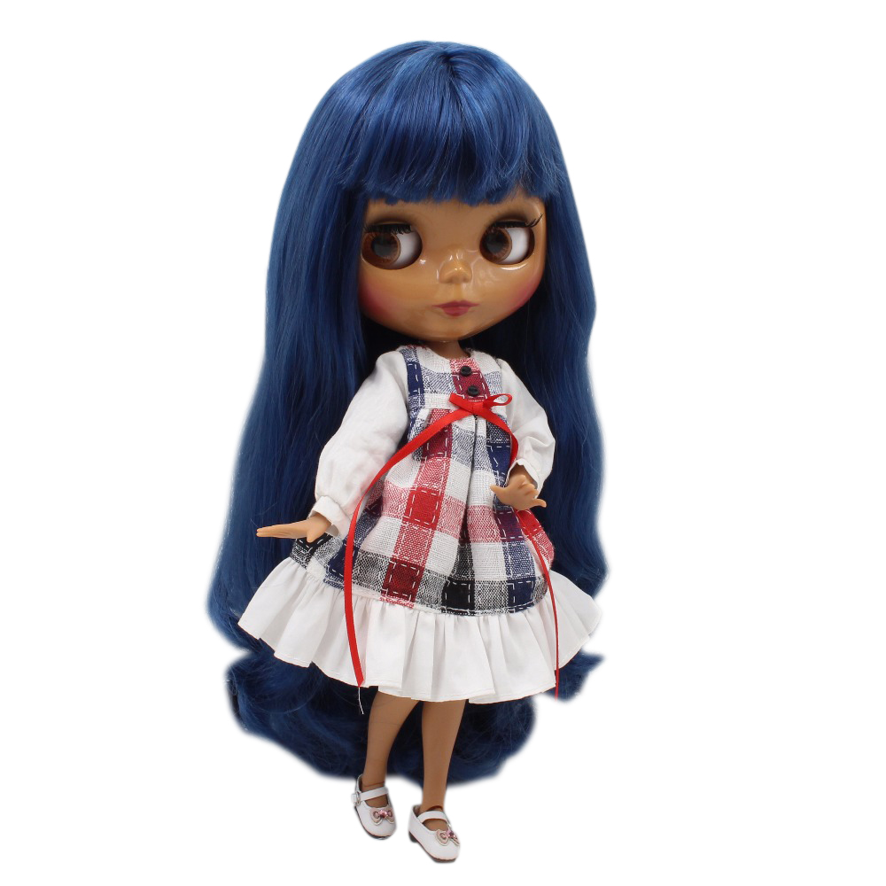 ICY factory blyth doll BL6221 blue hair with bangs fringes dark skin joint body 1 6