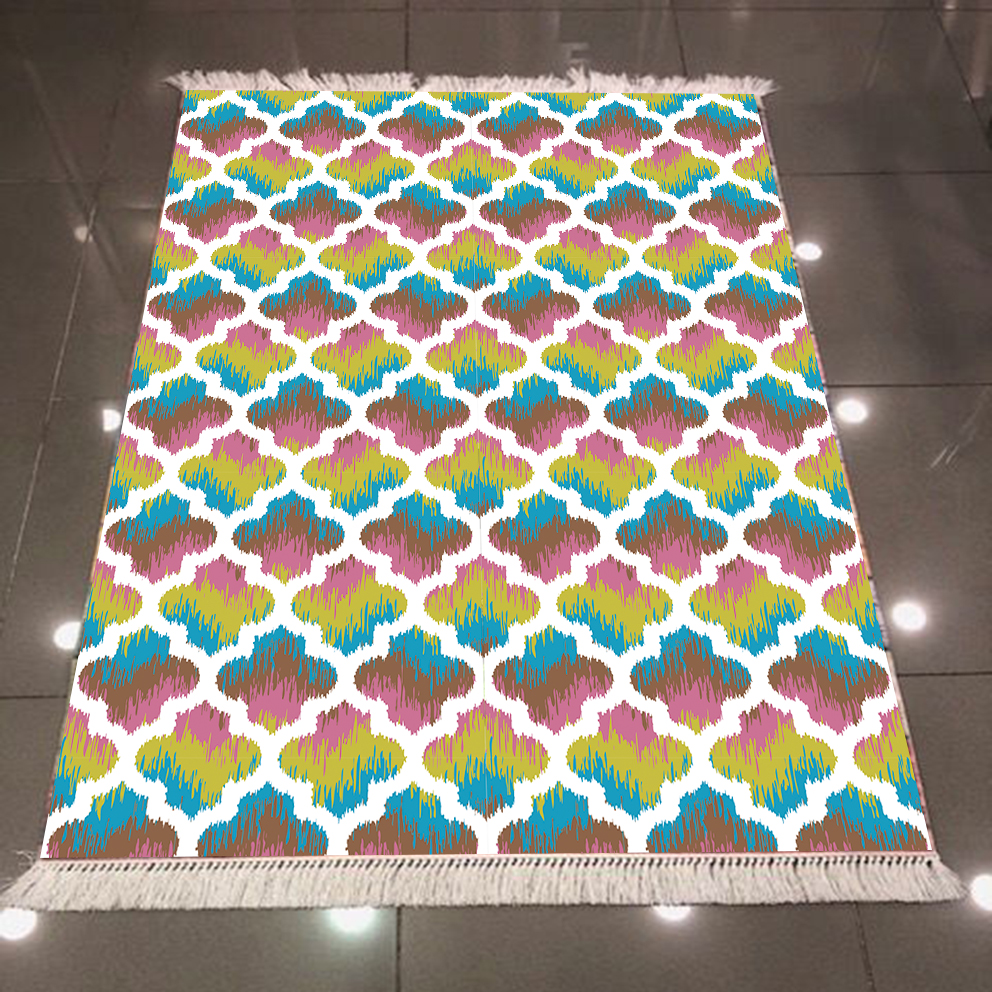 Else Abstract Watercolor Green Yellow Purple Ogee Geometric 3d Print Anti Slip Back Washable Decorative Kilim Area Rug Carpet