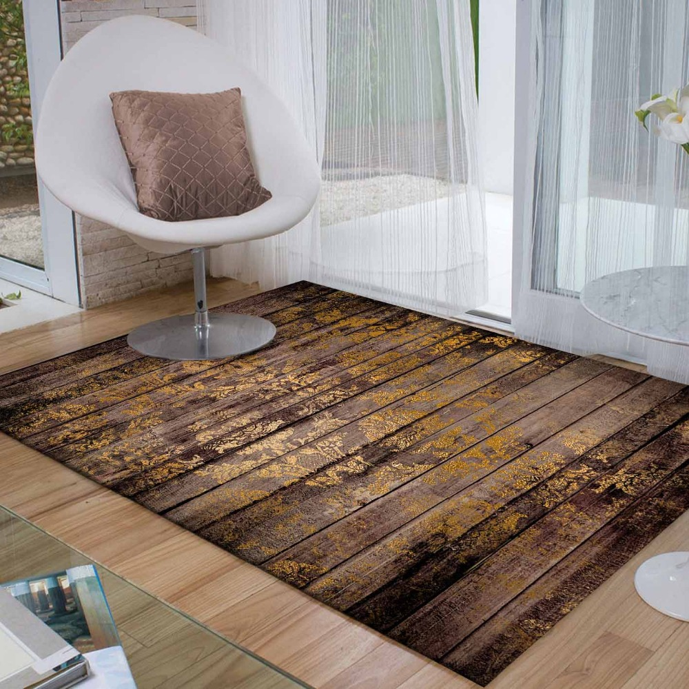 Else Brown Vintage Wood Yellow Ethnic Floral 3d Print Non Slip Microfiber Living Room Decorative Modern Washable Area Rug Mat
