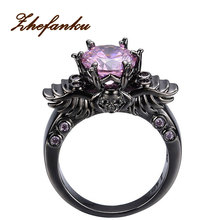 Punk Ring For Women Brand Purple Crystal Skull Rings Black Gold color Fashion CZ Quartz Jewelry