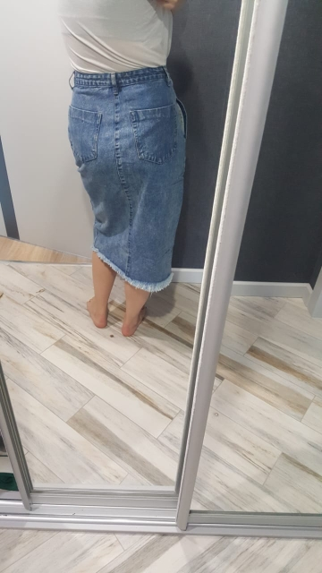 Women Midi Skirts High Waist Large Size Cotton Jeans Skirt Women Casual Tassels Washed Denim Skirts Sexy Split Midi Skirt photo review