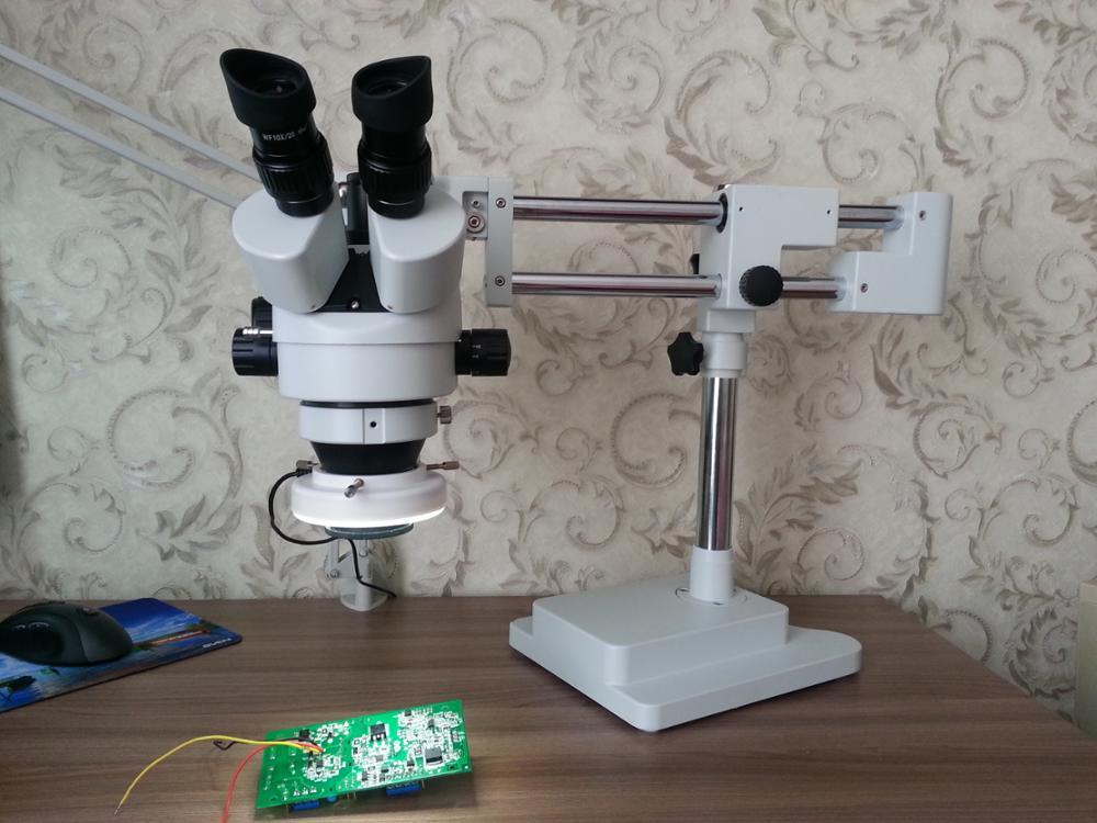 Lucky зум бренда 3.5X-90X! Двухместный Boom Stand Stereo Увеличить тринокулярный микроскоп + 14MP Камера + 144 шт. LED микроскоп Интимные аксессуары