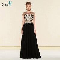 Dressv элегантный черный, глубокое круглое декольте трапециевидной формы платье для матери невесты длиной до пола на молнии Длинные мать вече