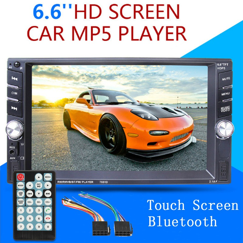 6.6 Inch HD 2 Din MP5 MP4 Player Touch screen Car FM Radio stereo Bluetooth support Rear Camera 2 USB Port FM 7 hd bluetooth touch screen car gps stereo radio 2 din fm mp5 mp3 usb aux z825