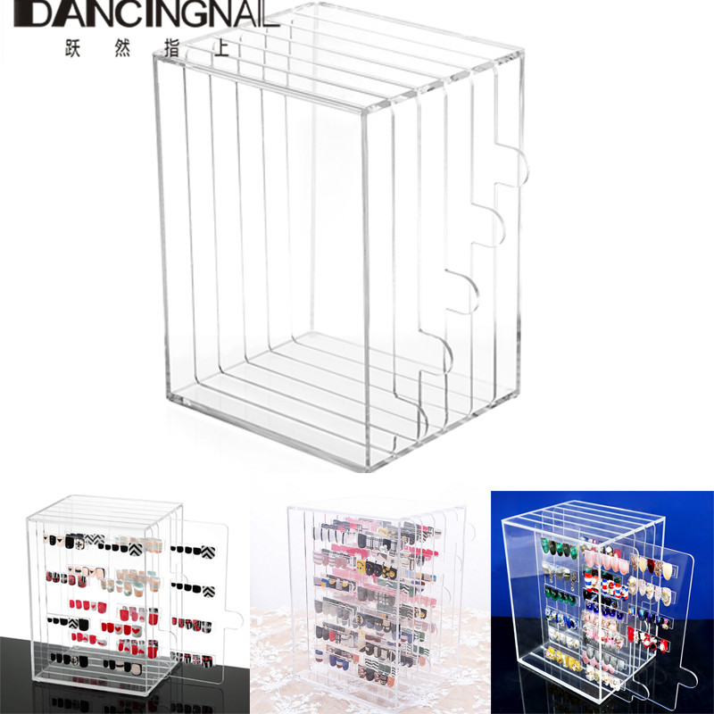 5Grid Acrylic Nail Art Tips Display Stand Rack Dust-proof Show Panel Nail Color Board Desktop Storage Holder Salon Manicure Tool