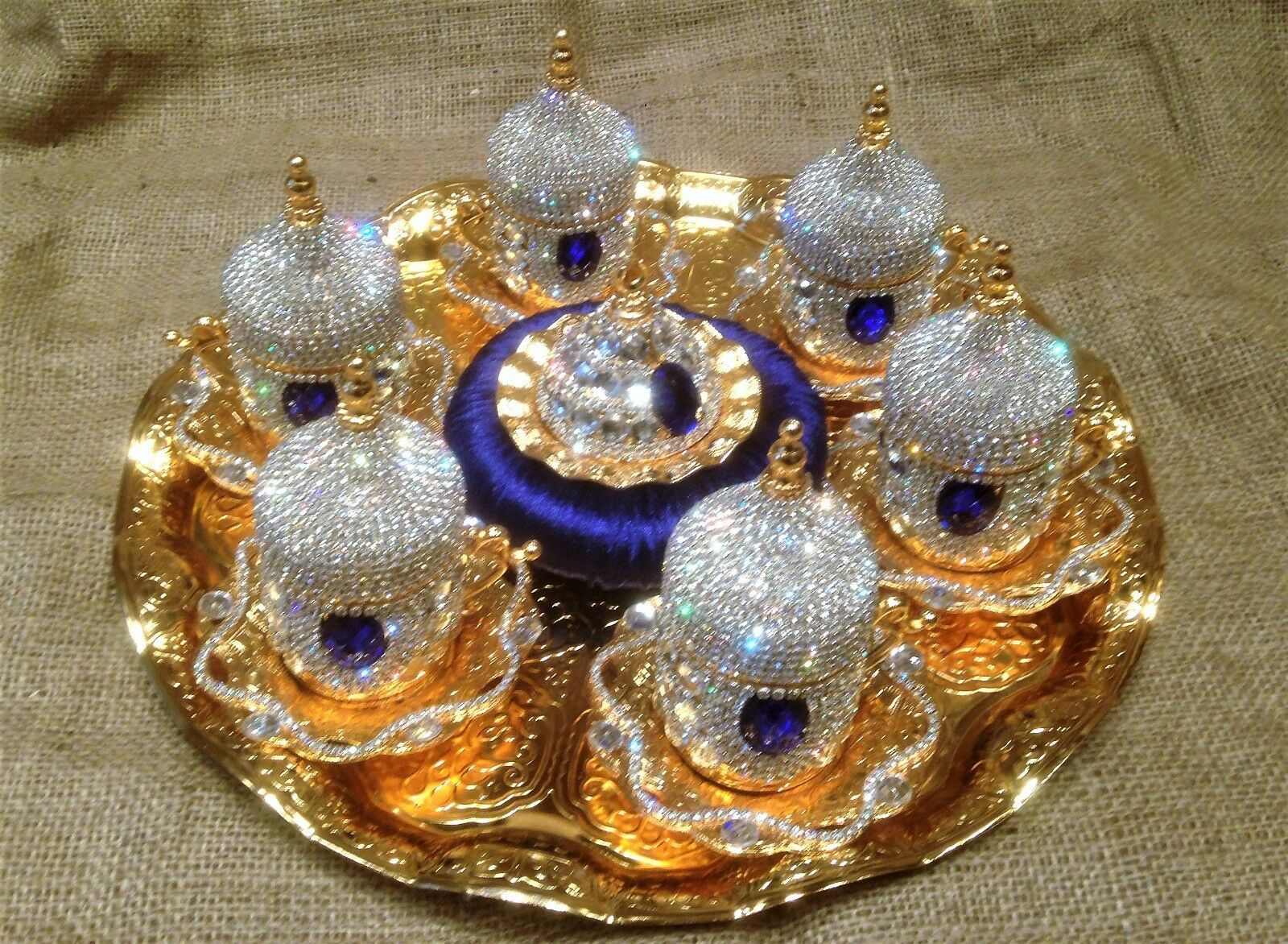 6 person coffee set with crystals and red-blue-purple - green porcelain