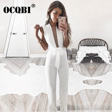 Casual Elegant Romper Jumpsuits for Women 2018 V Neck Sleeveless Body Suit Solid One Piece Playsuit