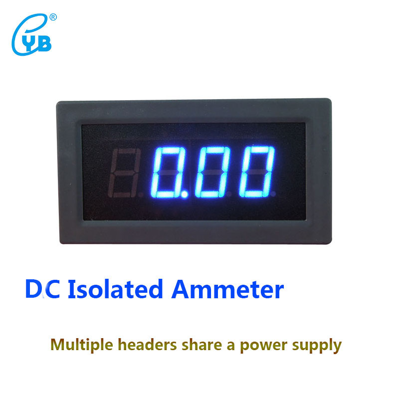 YB5135BI DC Digital Isolated Current Meter Three and A Half LED Digital Display Ammeter DC Current Meters Amp Back Cover Blue