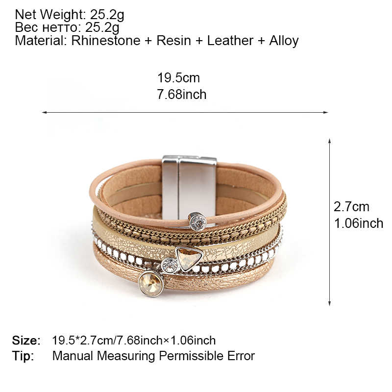 Amorcome 6 Colors MultiLayers Leather Bracelet Women Alloy Rhinestone Beads Magnet Charm Style Wrap Bracelets & Bangles Jewelry
