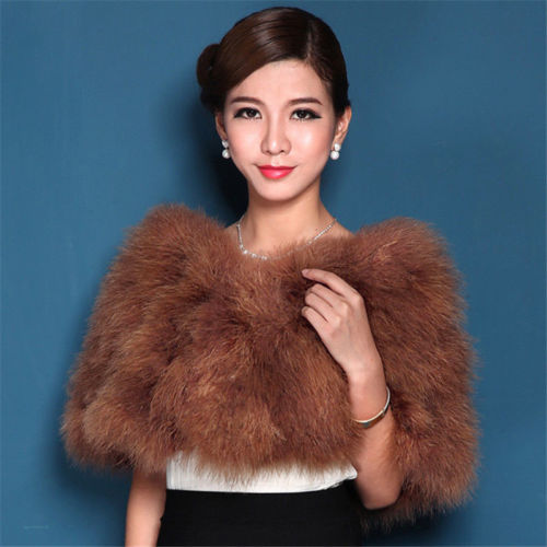 Fashion natural ostrich feather fur bridal wraps wedding accessory turkey women scarf shawl S62