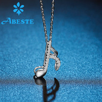 ANI 18K Solid White/Rose Gold Women Wedding Necklace 0.05ct Diamond Engagement Musical Note Pendant Necklace Chain