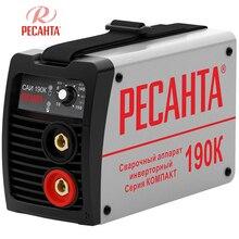 Аппарат сварочный инверторный РЕСАНТА САИ 190К (Сварочный ток 10-190А, продолжительность включения 70% при 190А, макс.диаметр электрода 5 мм)