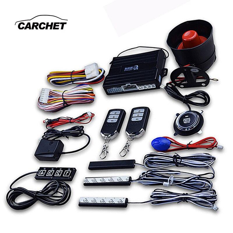CARCHET alarme de voiture Passive sans clé verrouillage Central automatique bouton poussoir démarrage arrêt automobile un bouton démarrage système de contrôle à distance