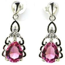 SheCrown Drop Shape Pink Tourmaline White CZ Gift For Girls Silver Earrings 24x10mm