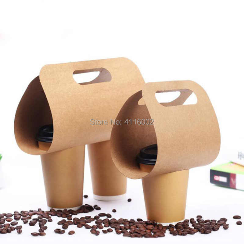 500pcs Kraft Paper Cup Holder Disposable Drinks Coffee Tea And Milk Mug Base Handle Holders Takeaway Drink Packaging