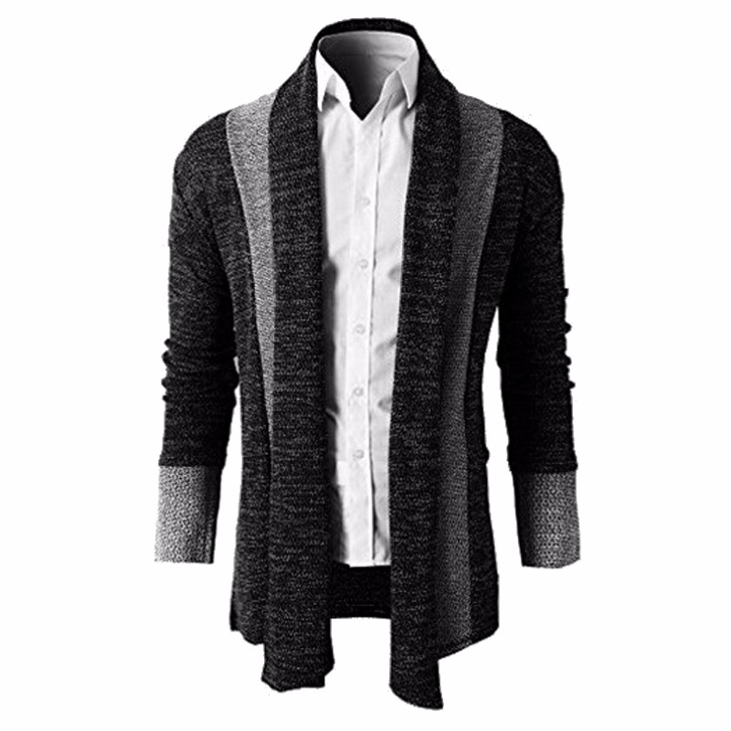 2018 Mens Sweater Trench Open Front Cardigan Masculino Male Coat Jacket Autumn Spring Kitted Cardigan Men Outwear Male Clothing