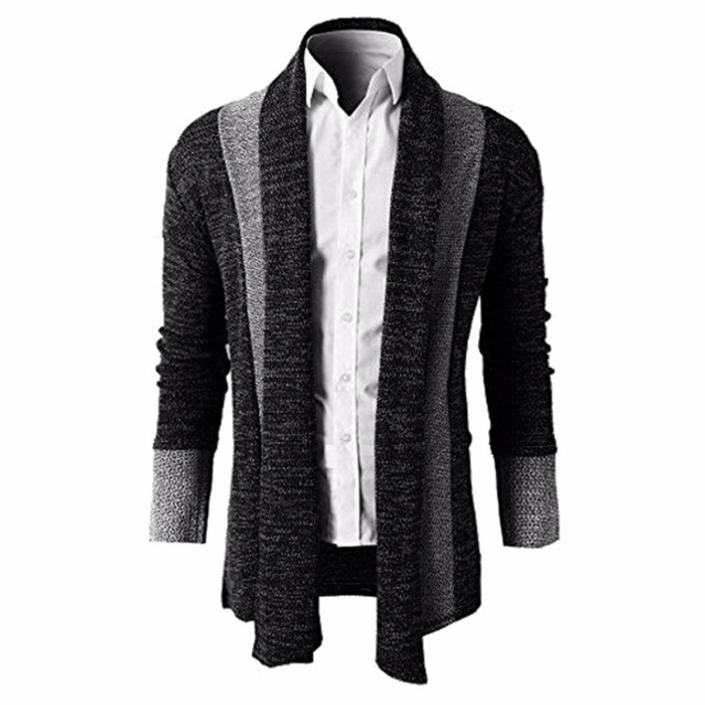 ab96e04c69600b 2018 Mens Sweater Trench Open Front Cardigan Masculino Male Coat Jacket  Autumn Spring Kitted Cardigan Men Outwear Male Clothing
