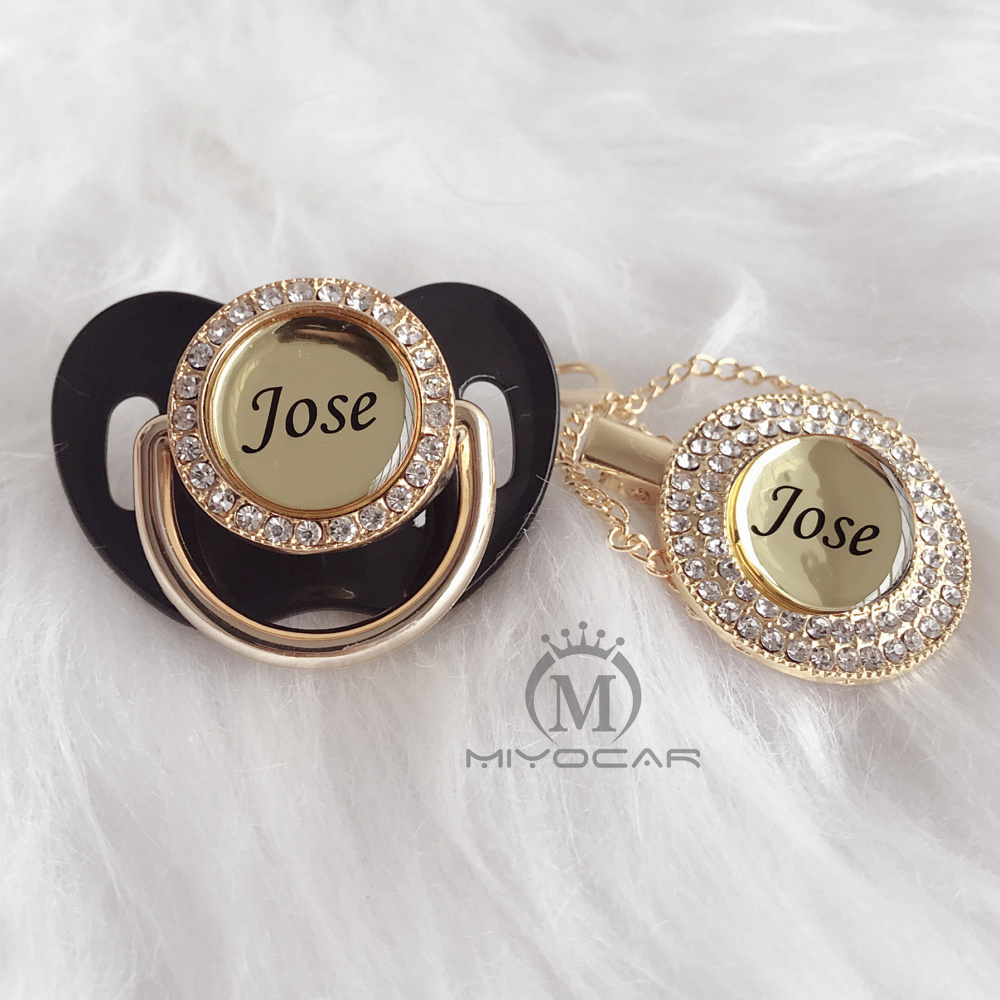 MIYOCAR Personalized Any Name 11 Colors Black Cool Bling Pacifier And Pacifier Clip BPA Free Dummy Bling Unique Design P4