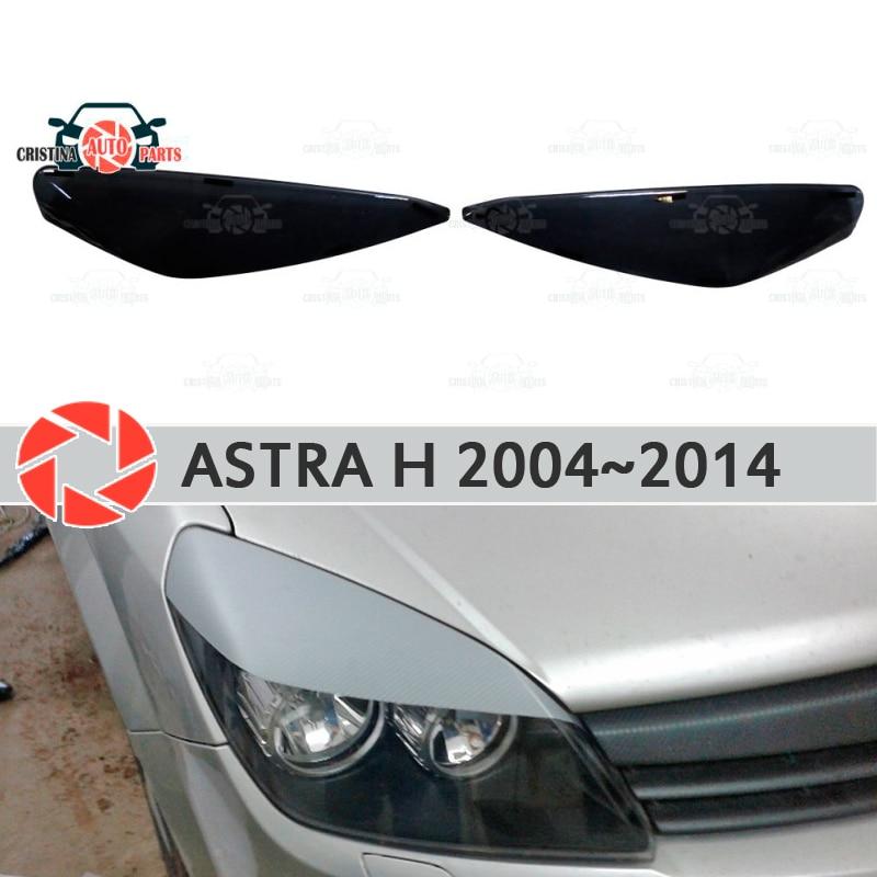 Eyebrows for Opel Astra H 2004~2014 for headlights cilia eyelash plastic moldings decoration trim car styling molding for opel astra h 2004 2014 car armrest with inner storage box black color poah56