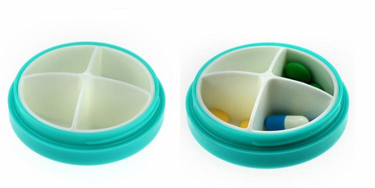 1pc Cute Mini 4 Slots Portable Medical Round Pill Box Drug