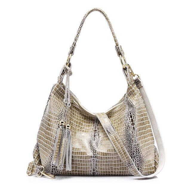 REALER качественная женская сумка хобо из натуральной кожи со крокодиловым принтом и кисточкой
