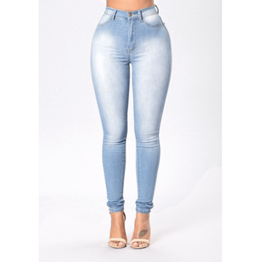 Women Casual Elastic High Waist Single-breasted Pocket Skinny Jeans Pencil Pants цена и фото