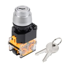 UXCELL 1 PCS Switch 22mm 2 Positions Key Locking Push Button W Keys DPST To Control The Electromagnetic Starter Contactor