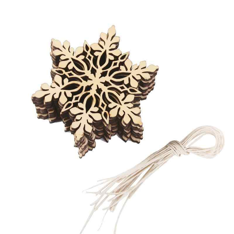 10pcs Merry Christmas Snowflake Christmas Tree Hanging Wooden Ornaments Party Christmas Decorations for Home