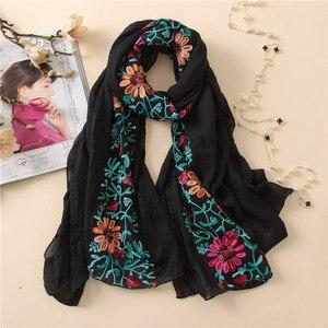 Image 3 - L12 di Alta qualità del fiore del ricamo hijab dello scialle della sciarpa delle donne dello scialle lungo musulmano dellinvolucro della fascia di 180*80cm 10 pz/lotto