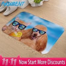 FOKUSENT Cute Animals Dog and Cat Wearing Sunglasses Flannel Door Mat Carpets Floor for Bedroom Home Decor  16x24