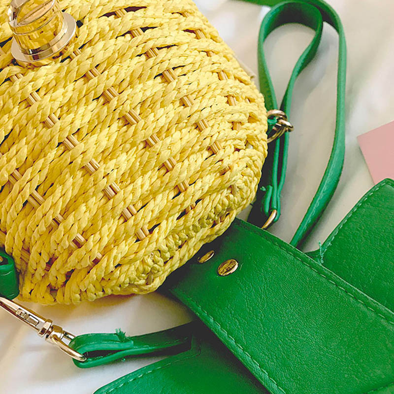 Women Pineapple Handbag Female Messenger Bags Straw Beach Crossbody Bag Lady Fashion Rattan Clutches Tote Knitted SS3010 (6)
