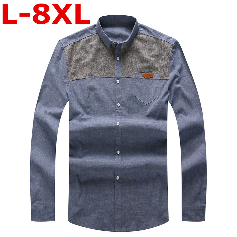 high quality Plus size 9XL 8XL 7XL 6XL 2018 mens work shirts Brand Long sleeve striped /twill men dress shirts white male shirts