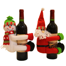 Christmas Red Wine Bottle Pendant Sets Cover Bags Hug Santa Claus Snowman Doll Home Xmas Navidad Dinner Table Party Decoration