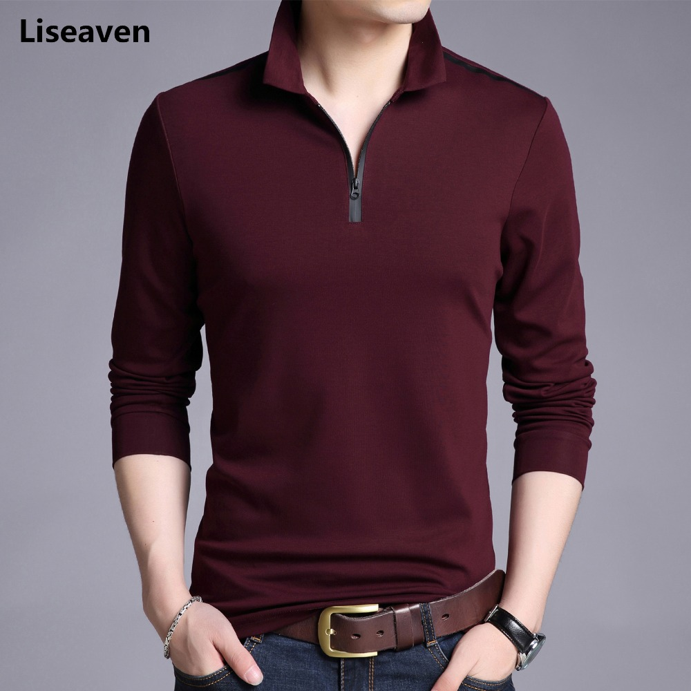 Liseaven   T  -  Shirts   Men Solid Color Slim Fit   Shirt   Long Sleeve Tshirt Men's Casual   T     Shirts   Brand Clothing