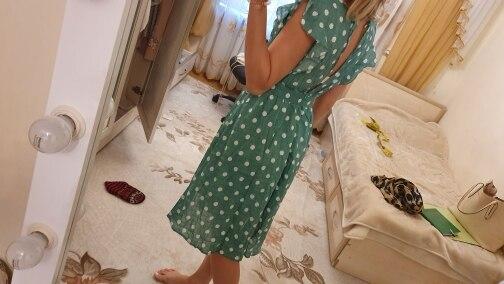 Sexy V Neck Polka Dot Green Summer Dress Women Casual Ruffle Midi Dress Elegant Holiday Beach Female Vestidos Festa photo review