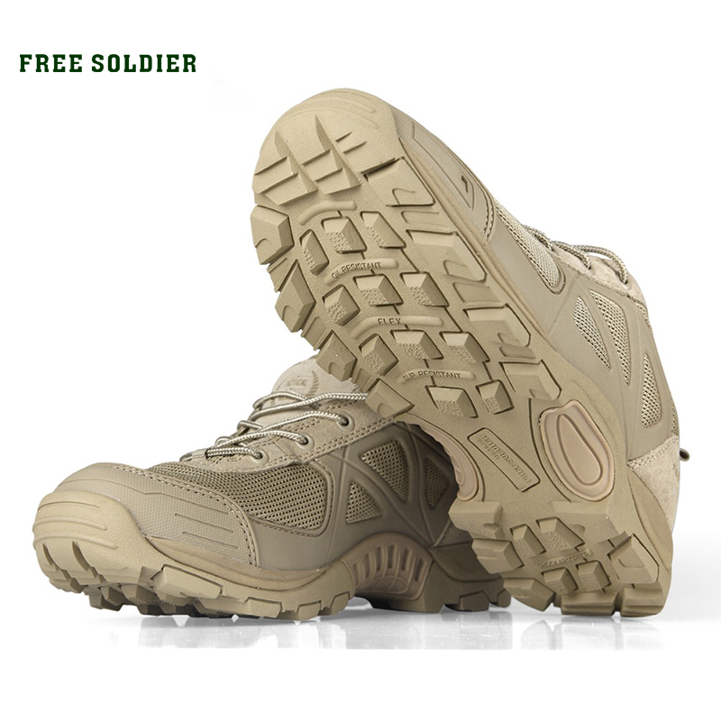FREE SOLDIER Outdoor Tactical Sport Men's Shoes For Camping Climbing Men Hiking Boots men military tactical boots special force desert ankle combat boots safety outdoor shoes plus new ultralight army boot