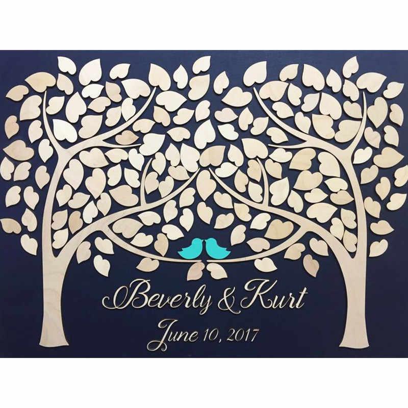 Libro de invitados de boda personalizado libro de visitas de madera alternativa árbol de corazón dos árboles crecer en una decoración de boda Libro de Visitas rústico