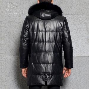 Image 5 - الرجال الشتاء الدافئة جلد طبيعي أسود أعلى درجة جلد الخراف الثعلب الفراء مقنعين بطة أسفل سترة معطف deri ceket jaqueta de couro LT2442