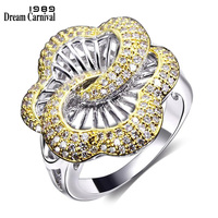 DreamCarnival 1989 Super Cute Rose Flower Rings for Women 2 Layer Hollow Deluxe CZ Two Tone Gold Color Wedding Anel YR7369MU