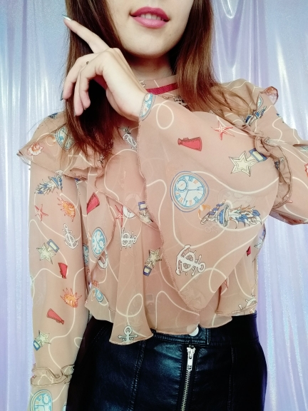 Female Tops Fashion New Spring Summer Women'S Flounce Shoulder Long Sleeve Casual Chiffon Blouses Vestidos photo review