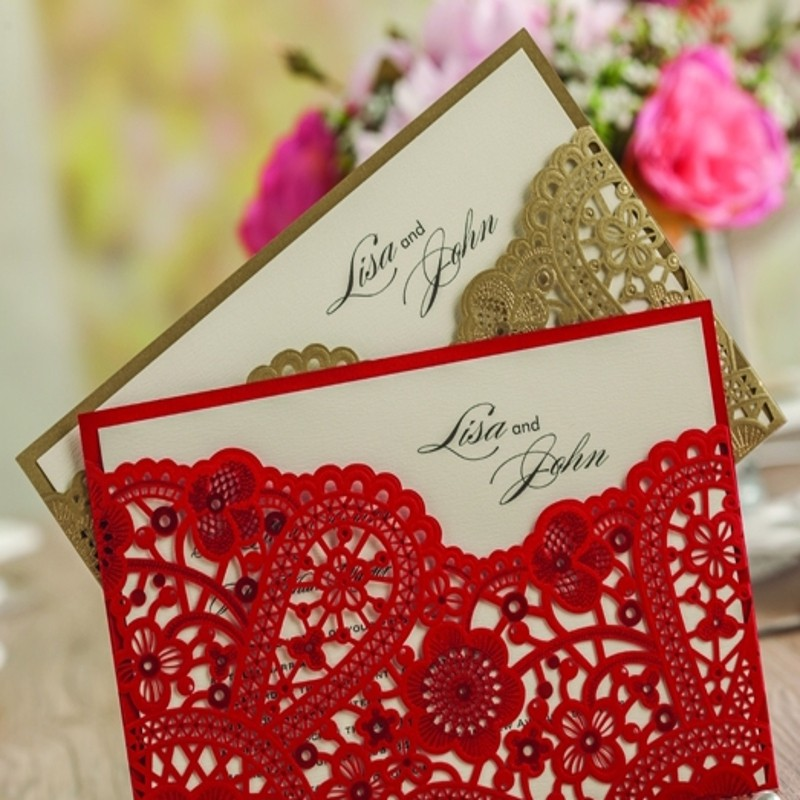 Invitation Card Romantic Wedding Party Envelope Lace Shape Delicate ...
