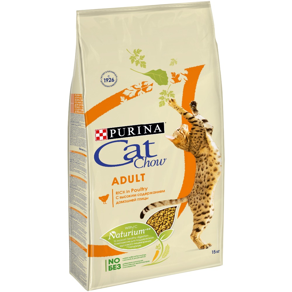 Dry food Cat Chow for adult cats with poultry and turkey, 15 kg thanksgiving turkey food printed waterproof bath curtain