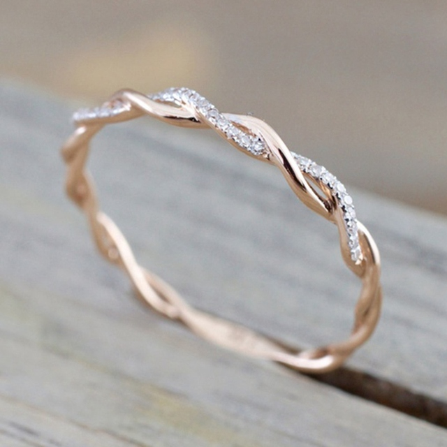 Round Rings For Women Thin Rose Gold Color Twist Rope Stacking